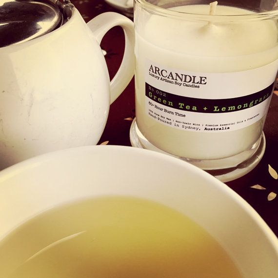Green Tea Lemongrass. Large Soy Candle. by ArcandleSoyCandles