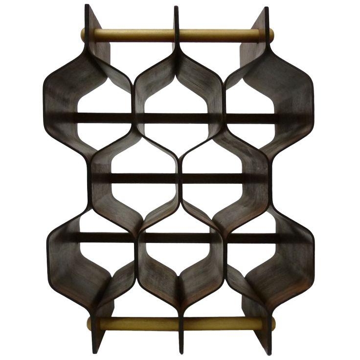 1stdibs | Mid-Century Modern Scandinavian Wine Rack in Rosewood  Plywood