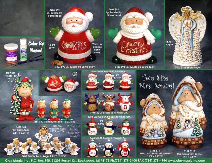 Page 165 Santa,Muñecos de Nieve entre otros en cerámica. Clay Magic Inc