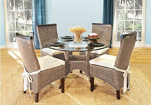 picture of Abaco Rattan 5 Pc Round Dining Room  from Dining Room Sets Furniture