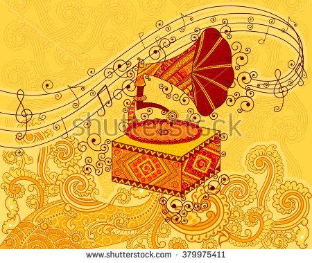 Vector design of gramophone in Indian art style