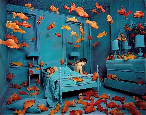 Revenge of the Goldfish - Sandy Skoglund.  This Installation Art piece was at the Toledo Museum of Art around 1992.