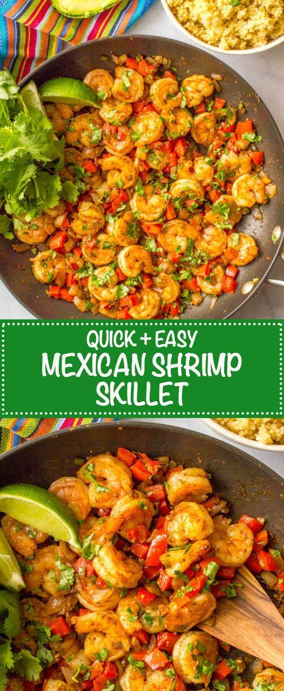 This quick and easy Mexican shrimp skillet is a one-pan dinner ready in just 20 minutes! It's great over rice or quinoa, in tacos or as a wrap! #easyrecipes #mexicanfood #shrimp #skillet #breakfast