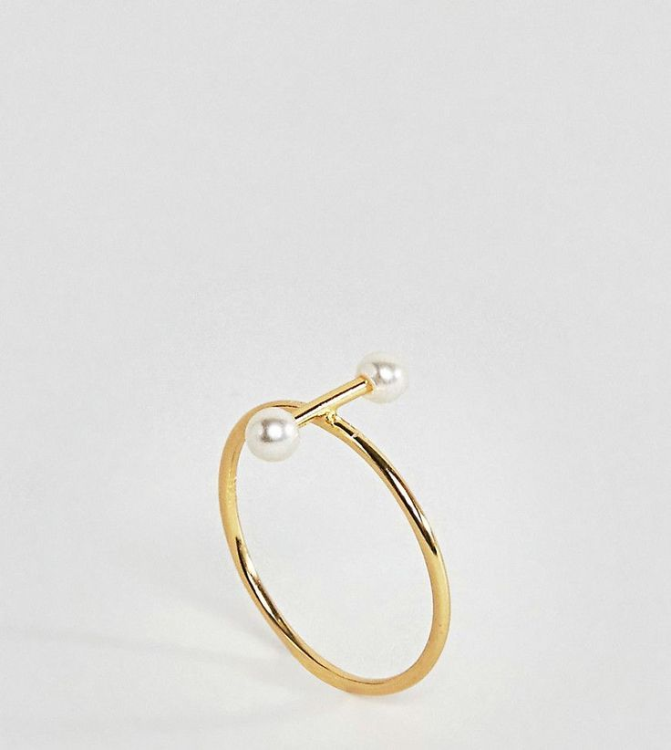 ASOS Gold Plated Sterling Silver Pearl Bar Ring - Gold