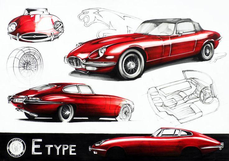 Jaguar E-Type Markers 70x50cm drawn in 2011  by Aleksander Krupa