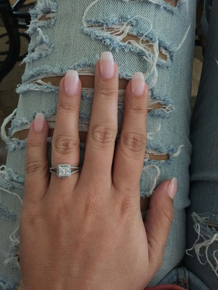 Natural looking coffin acrylic nails