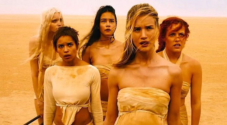 Mad Max: Fury Road -- Abbey Lee as The Dag - Zoë Kravitz as Toast the Knowing - Courtney Eaton as Cheedo the Fragile - Rosie Huntington-Whiteley as The Splendid Angharad - Riley Keough as Capable (left to right)