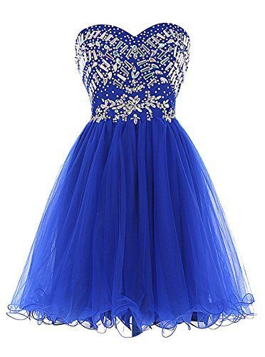 Uhc0007 Sweetheart, Homecoming Dress, Short Party Dress, with Beads, Royal blue, Tide clothes