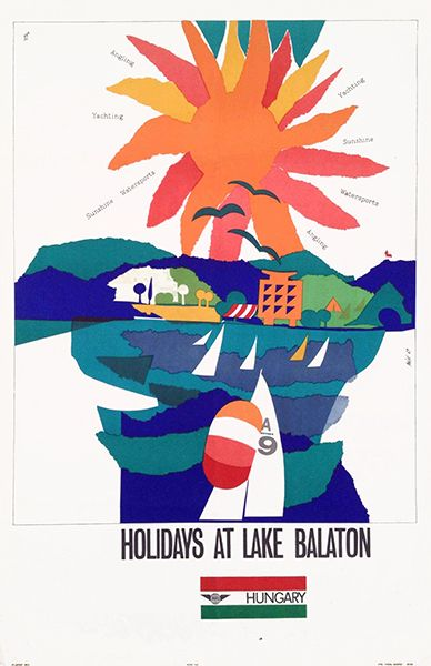 "«Tip for the weekend: ""Holidays at lake Balaton"". Vintage Hungarian poster by Máté András (1964)»."