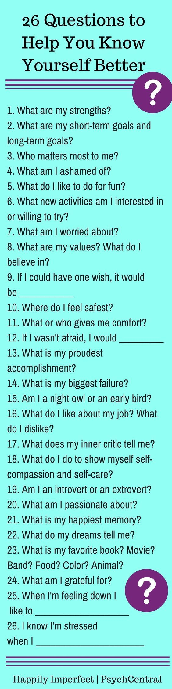 26 Questions to Help You Know Yourself Better::