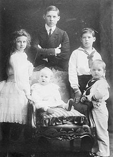 Sophie and Constantine's 5 eldest children.  Standing, from left, Princess Helen, future Queen of Romania, Prince George, Prince Alexander, and Prince Paul.  Seated, Princess Irene.  The politics of Greece were very turbulent, resulting in all 3 princes becoming king.