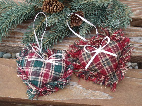 Fabric Heart Ornament. Country Christmas Decoration