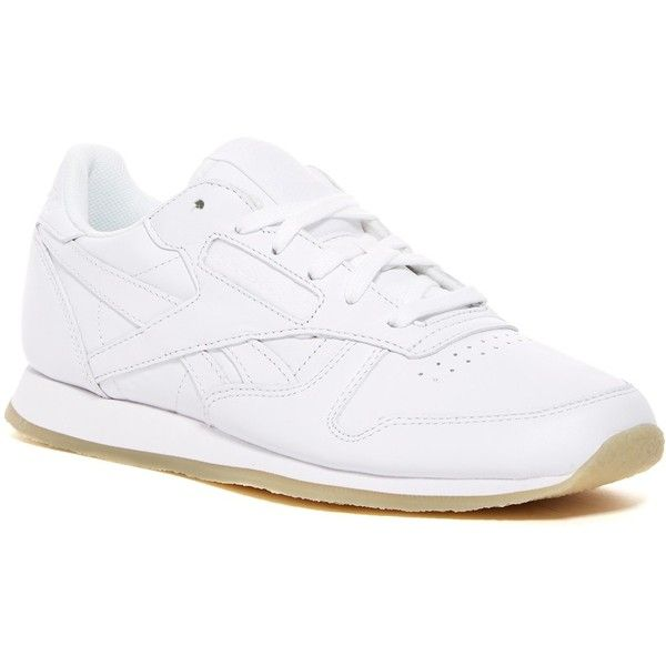 Reebok Classic Leather Crepe Neutral Pop Sneaker (Women) (590 ZAR) ❤ liked on Polyvore featuring shoes, sneakers, crepes shoes, leather footwear, leather trainers, reebok trainers and reebok sneakers