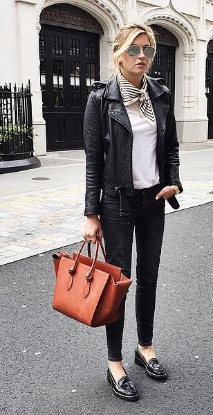 Rock Your Leather Jacket With Loafers and a Chic Neckerchief