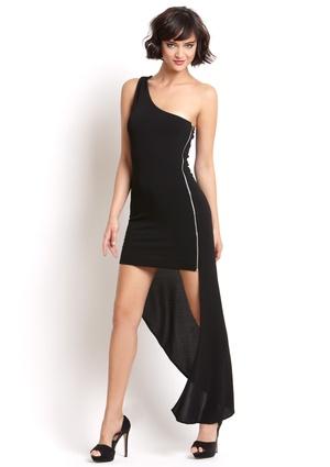 YA LOS ANGELES One-Shoulder Asymmetrical Dress