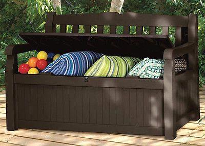 Modern Outdoor Glider Bench Porch Storage Box Furniture Deck Yard Seat Garden