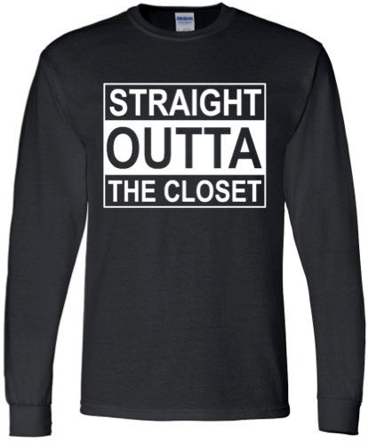 GAY T SHIRT Straight Outta The Closet Unisex Black by ALLGayTees
