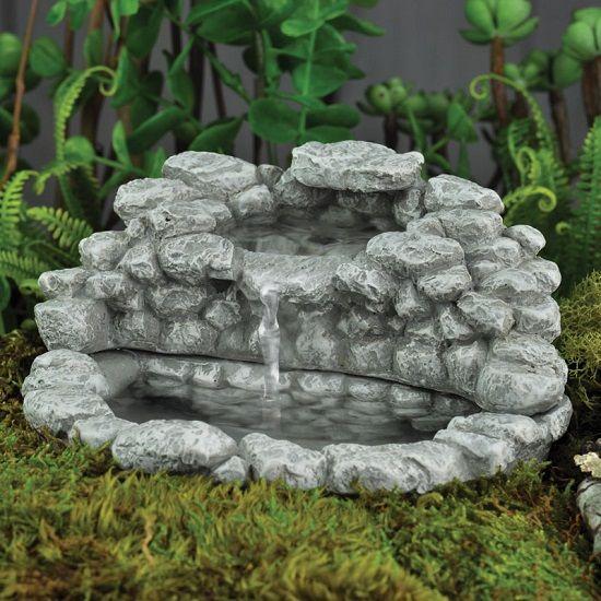 Miniature Dollhouse Fairy Garden Fieldstone Fountain New