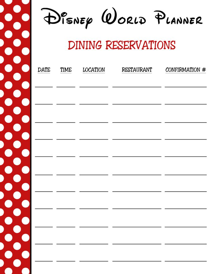 Dining Reservations Printable | Disney World Trip 2016 in ...