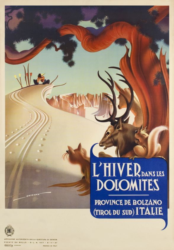 1947 Winter in the Dolomiti, South Tyrol, Italy vintage travel poster
