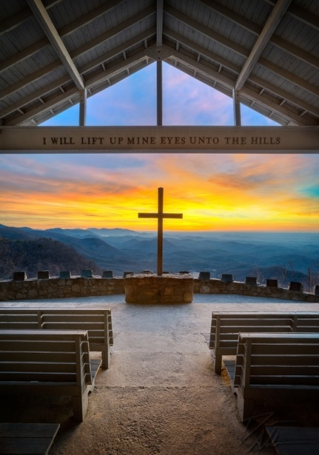 An incredibly brilliant sunrise from Pretty Place Chapel in the Blue Ridge Mountains. This amazing outdoor chapel is at the edge of the Blue Ridge Mountains in South Carolina, only a couple of miles from the North Carolina border.