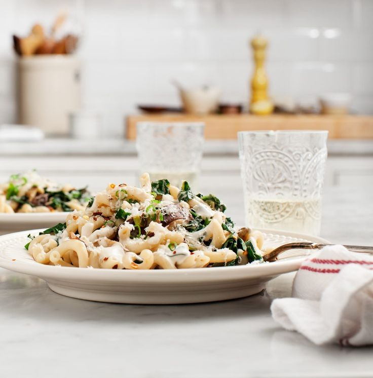 Creamy Vegan Shiitake and Kale Pasta
