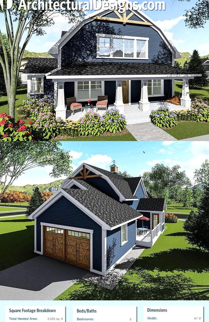 Architectural Designs House Plan 890051ah Has A Gambrel Roof And A Front Porch Spanning The Architectural Design House Plans Barn Style House Barn House Plans