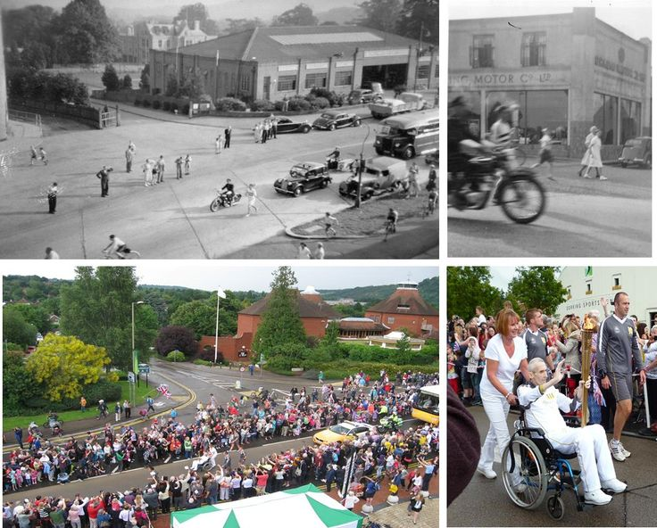 The Olympic Torch entering Dorking in 1948 and 2012