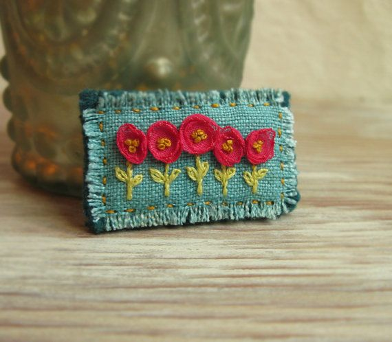 Pink and Teal Floral Embroidered Brooch by Sidereal on Etsy