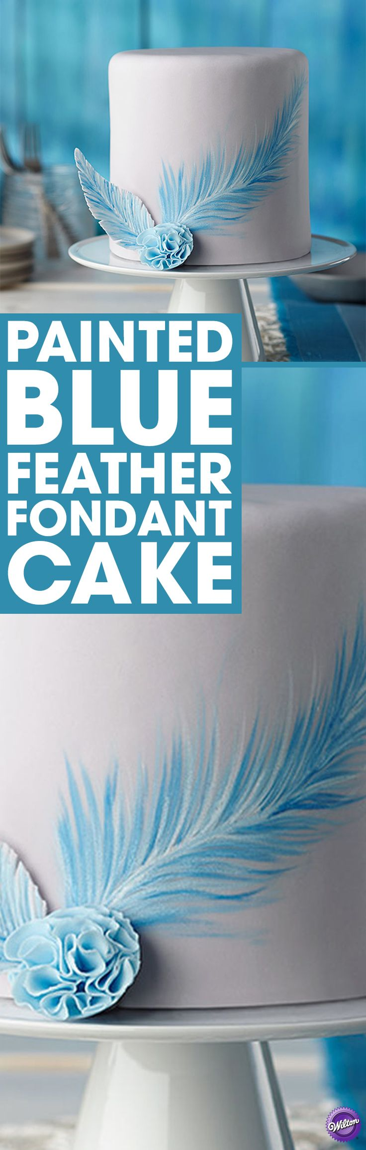 How to make a painted blue feather fondant cake - Delicate hand-painted touches add elegance to a smooth fondant cake. Use the Wilton Decorating Brush Set and Wilton Icing Colors to paint freehand details for one-of-a-kind works of art. Cake makes 12 servings.