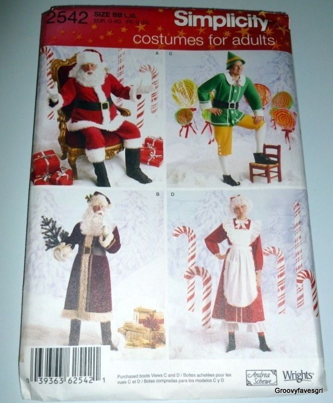Father Christmas Santa Mrs Claus Elf Cosplay Costume Pattern Fantasy Simplicity #Simplicity