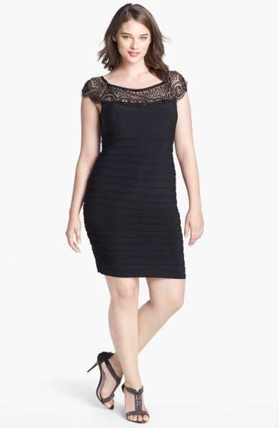 Xscape Beaded Yoke Shutter Pleat Sheath Dress in Black