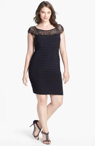 Xscape Beaded Yoke Shutter Pleat Sheath Dress in Black