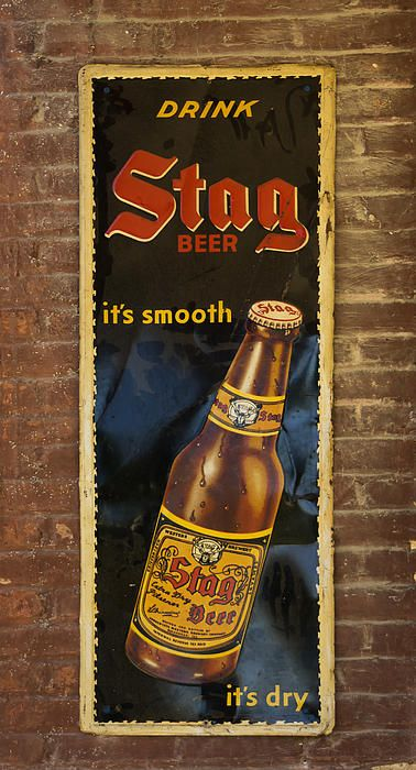 Vintage Old Drink Stag Beer Sign Dsc07183