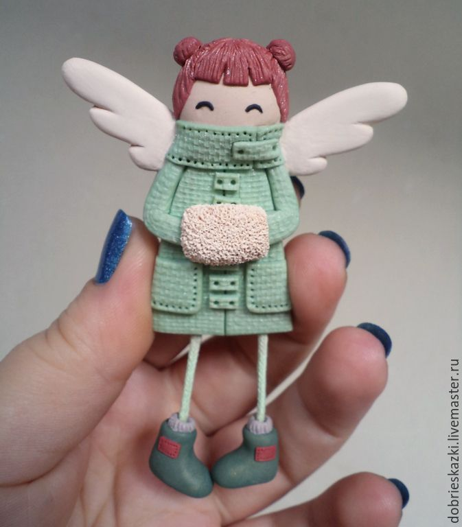 Брошь Ангел с муфточкой - салатовый, ангел, девочка, девочка-припевочка, ангелочек, брошка, handmade