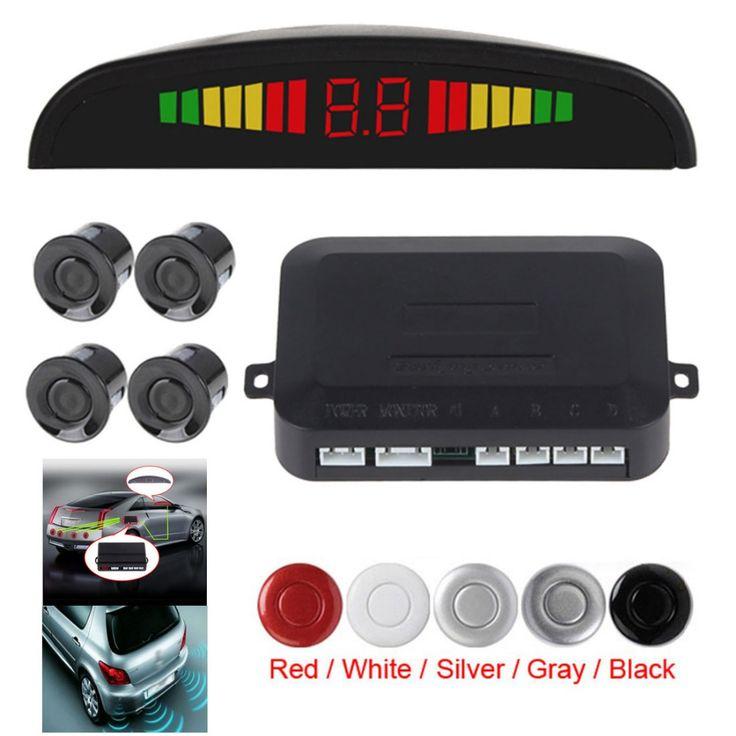Elegante y Pequeño Ultrasónico caliente 4 Del Revés Del Coche Sistema de Sensor de Aparcamiento con Pantalla LED de Alarma Audible