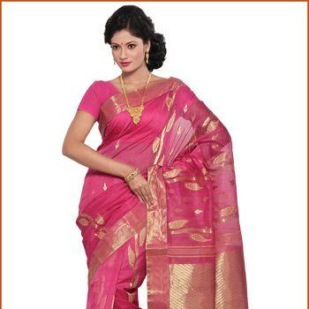 Pink Pure Silk and Cotton Dhakai Jamdani Saree with Blouse