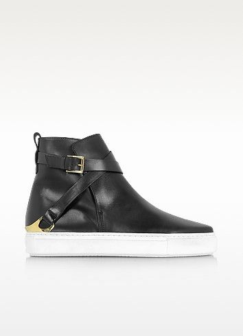 Black Leather Women's High Top Sneaker - Fratelli Rossetti