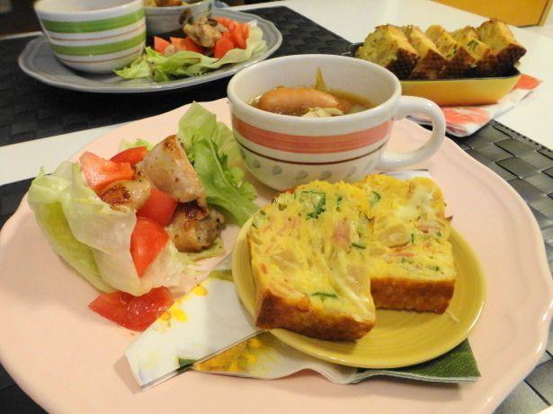 とうもろこしのケークサレ☆カフェ風ワンプレートランチ|にゃんのブログ