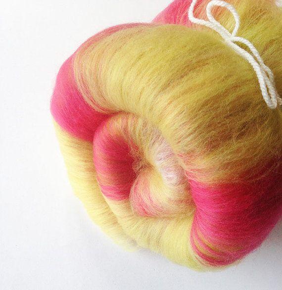 Spinning Fibre  Fruit Salad Mini Art Batt  Merino Wool