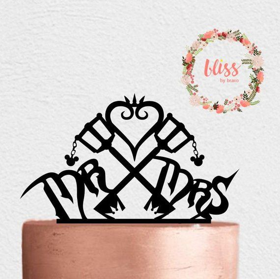 Sora and Kairi Curled Heart 2 Piece Wedding Cake Topper