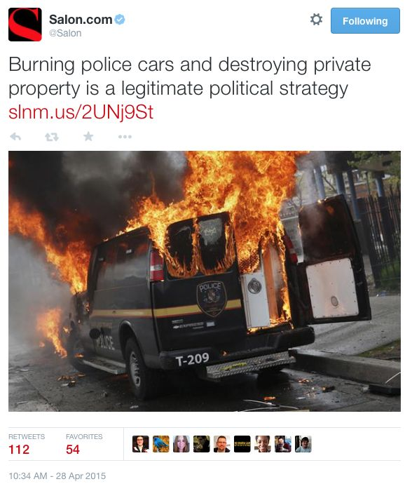 "Lib Rag Salon ➠ When Blacks Riot, Burn Police Cars, Destroy Private Property It's A ""Legitimate Political Strategy"""