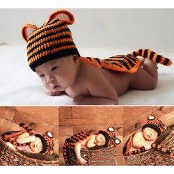 Baby gebreid Tijger kostuum