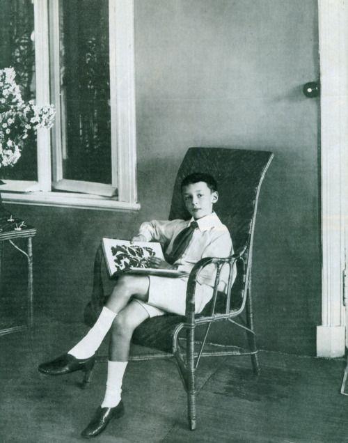 Vladimir Nabokov con libro de mariposas 1907 Fotografía de Karl Bulla