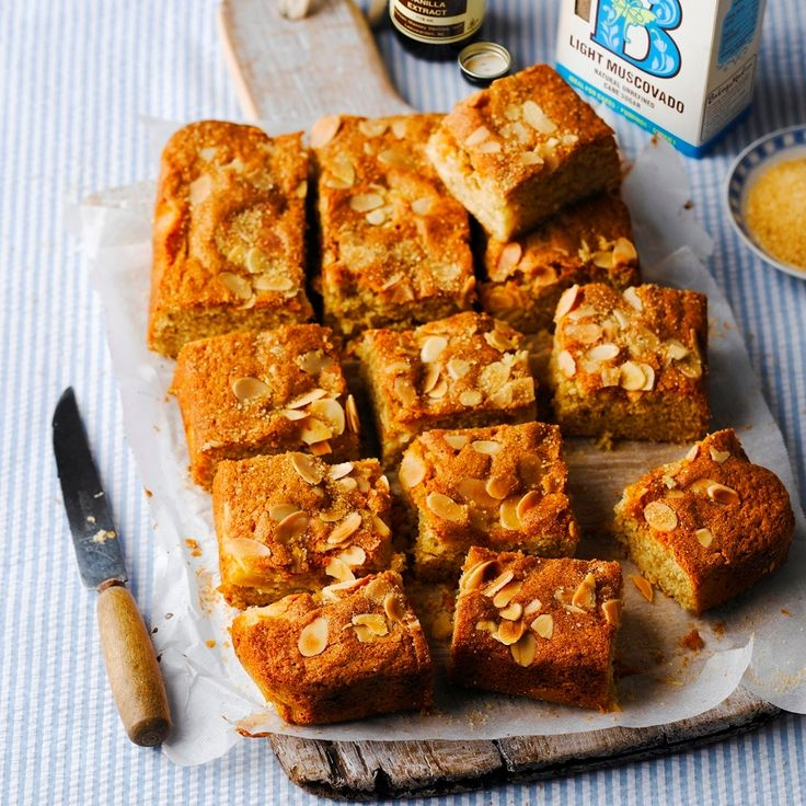 A piece of cake from this Dorset Apple And Almond Traybake Recipe, is made even tastier with a scoop of clotted cream.