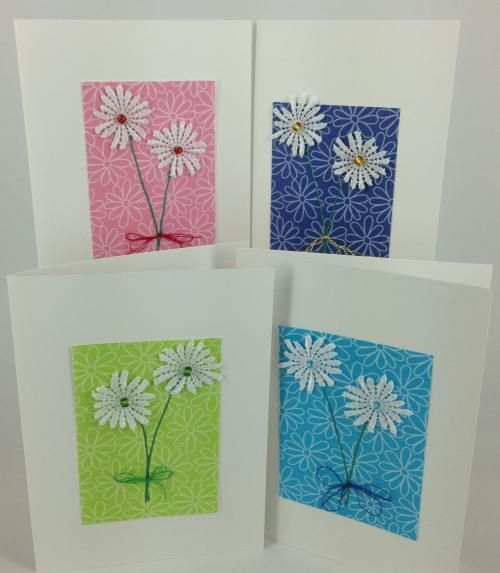 Set of 5 Lace Flower greeting cards
