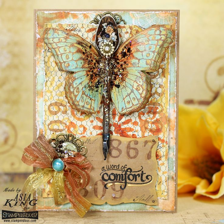 #cre8time vintage rusty butterfly card with @stampendous and @decoart #decoartprojects #mixedmedia #stampendous