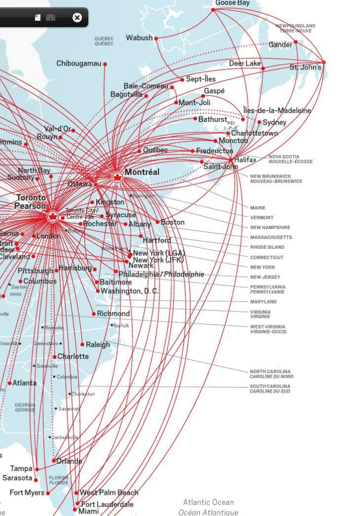 flight 888 air canada map