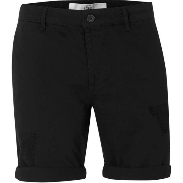 TOPMAN Black Ripped Skinny Chino Shorts ($39) ❤ liked on Polyvore featuring men's fashion, men's clothing, men's shorts, black, mens long shorts, mens chino shorts and mens distressed denim shorts