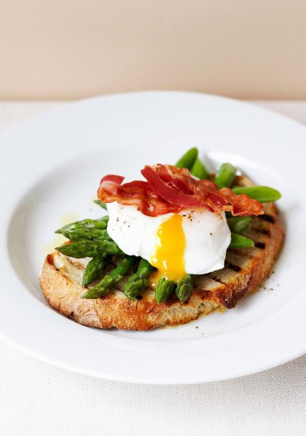 Asparagus and soft eggs on toast.